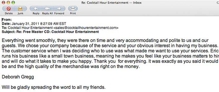 cocktail hour entertainment ericcutler eric cutler customer letter